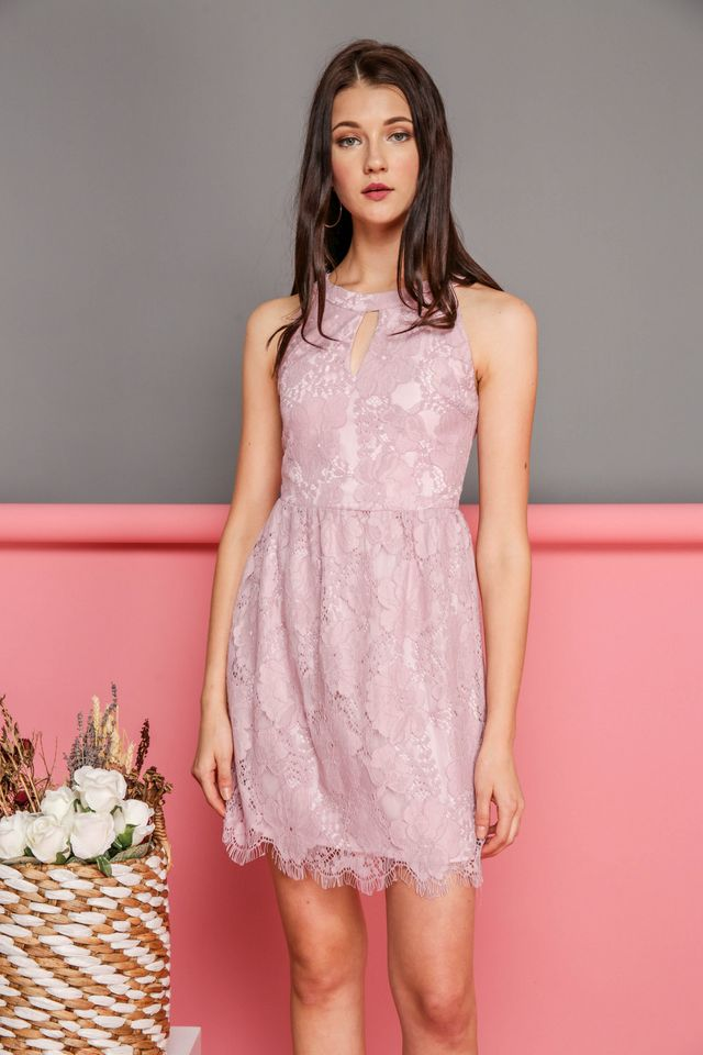 Adeline Keyhole Lace Dress in Pink (XS)