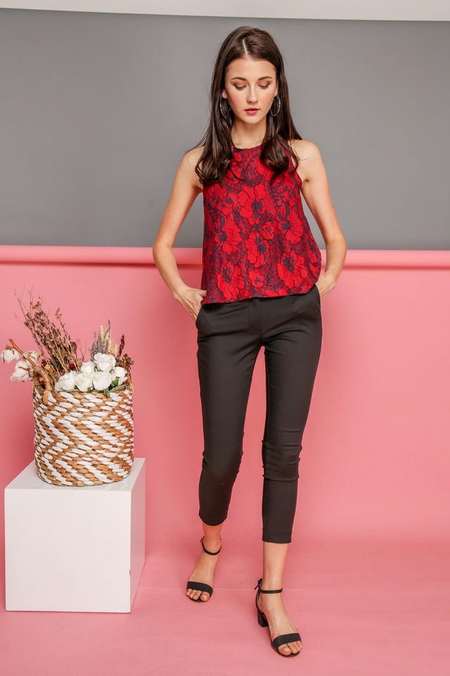 Aurelia Lace Floral Top in Red