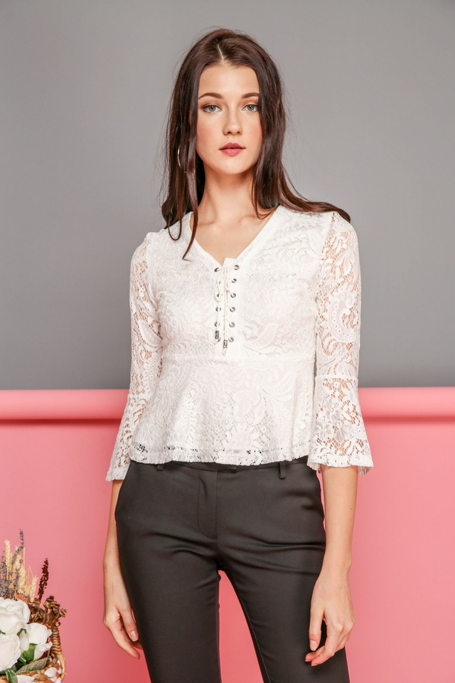 Arabella Bell Sleeve Lace Up Top in White