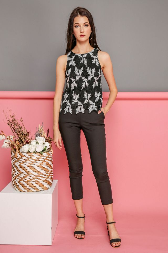 Esme Crochet Leaf Top in Black (XS)
