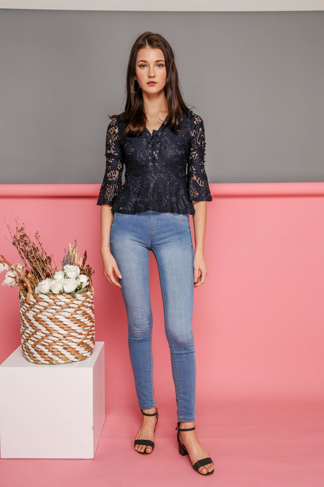 Arabella Bell Sleeve Lace Up Top in Navy