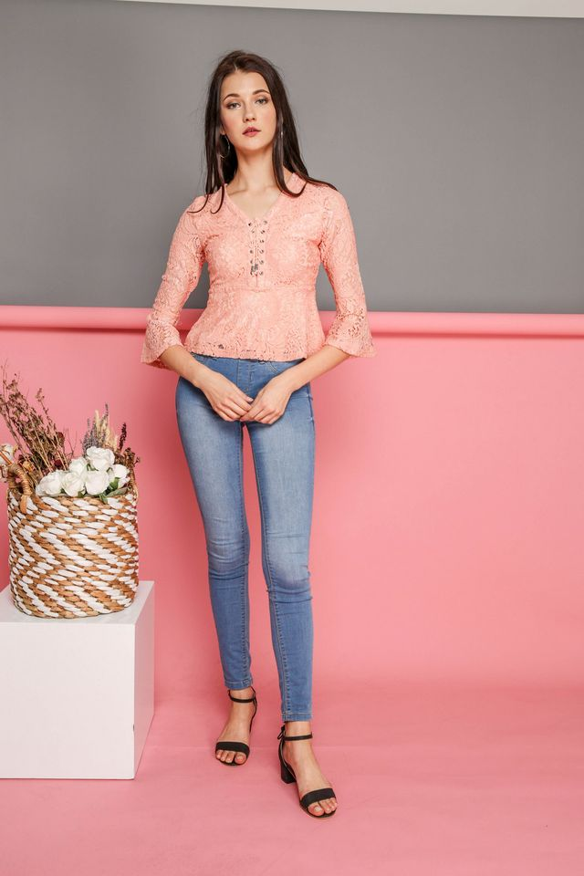 Arabella Bell Sleeve Lace Up Top in Peach (L)