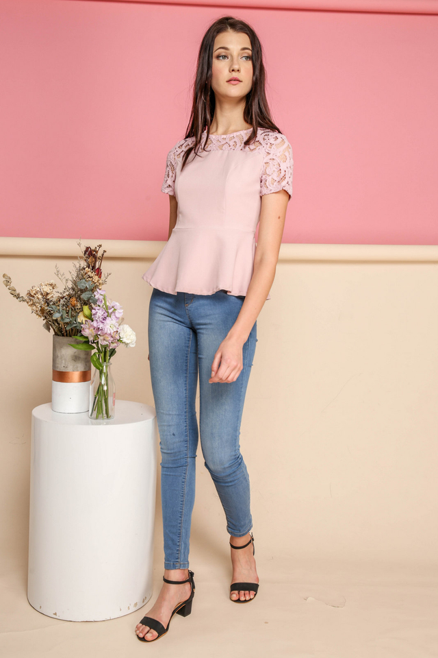 Adira Lace Peplum Top in Pink