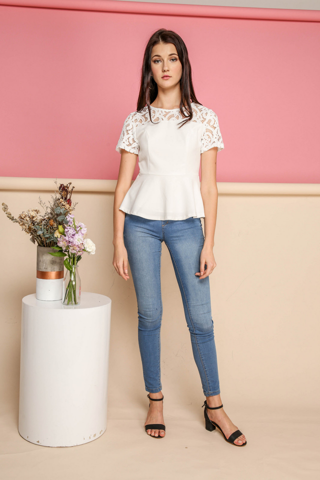 Adira Lace Peplum Top in White