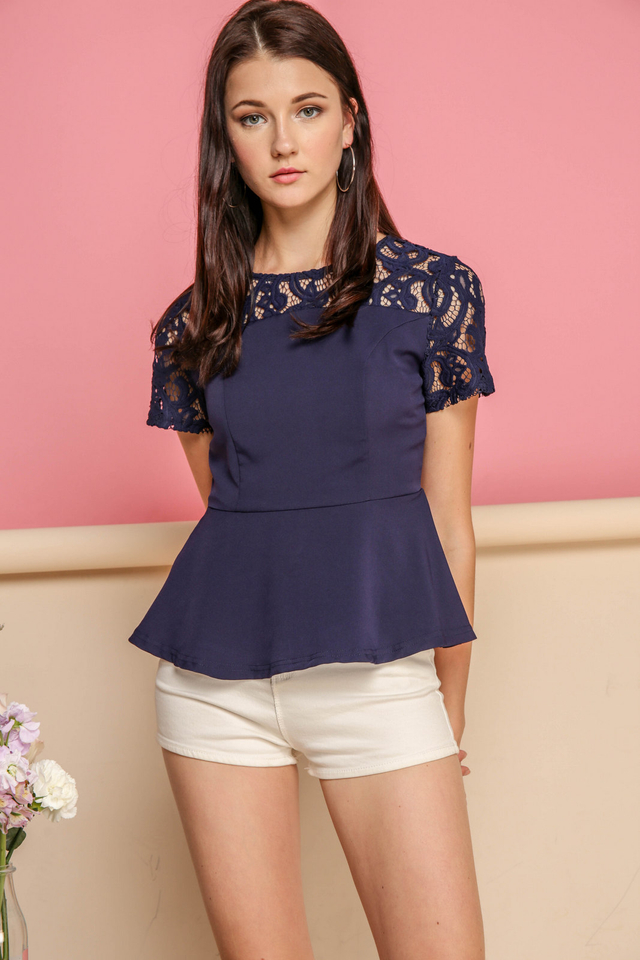 Adira Lace Peplum Top in Navy