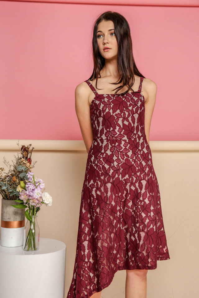 Annalise Lace Midi Dress in Wine Red