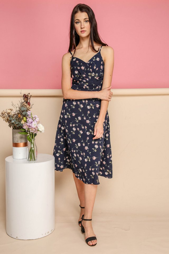 Bexley Mini Rose Midi Dress in Navy