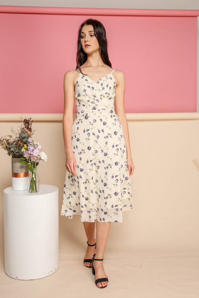 Bexley Mini Rose Midi Dress in Cream