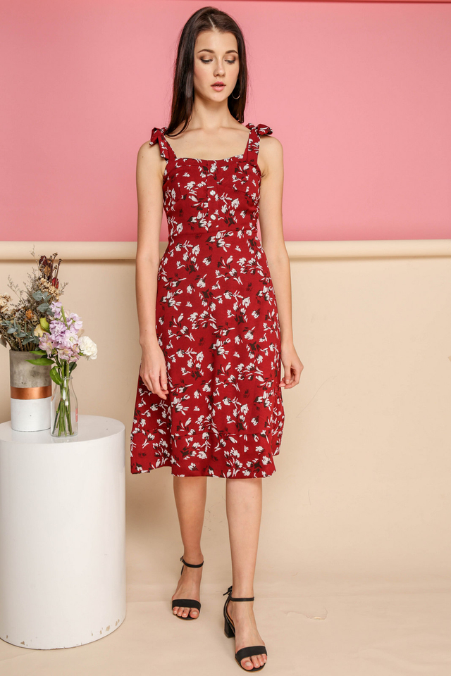 Everly Tie Ribbon Floral Midi Dress in Red