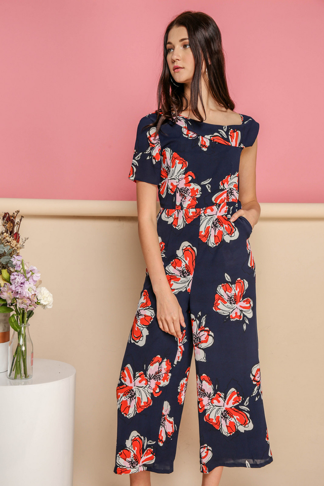 Zaylee One Shoulder Floral Jumpsuit in Red