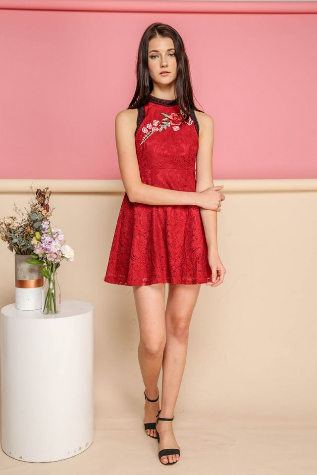 Louisa Rose Embroidery Lace Dress in Red