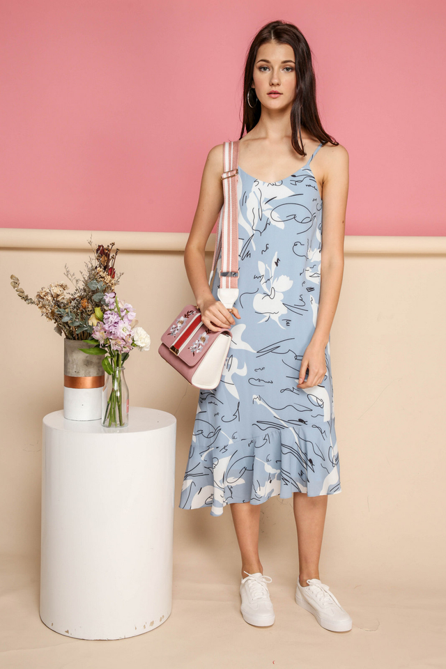 *BACKORDER* Rayna Printed Midi Slip Dress in Blue
