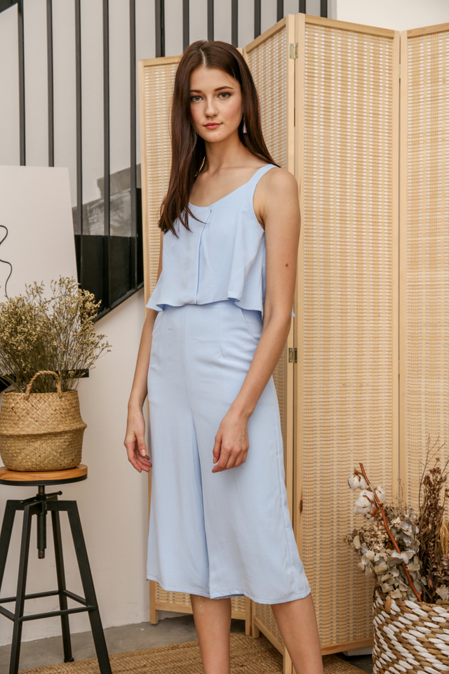 Rei Layer Midi Jumpsuit in Powder Blue