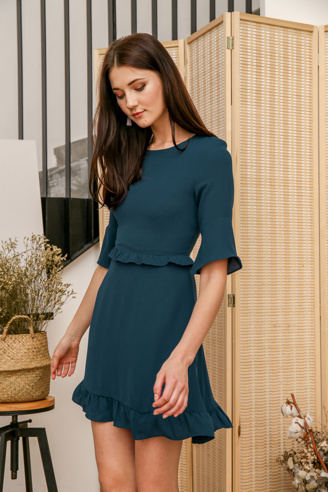 Gerraine Ruffles Dress in Forest