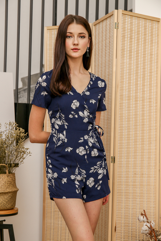Debbie Floral Romper in Navy Blue
