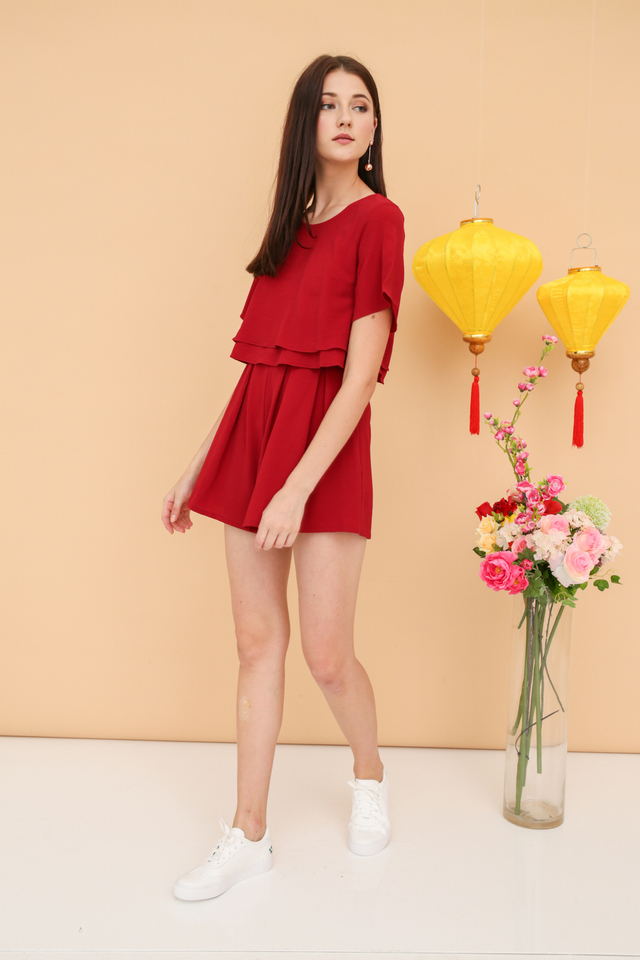 Careen Tiered Layer Romper in Red