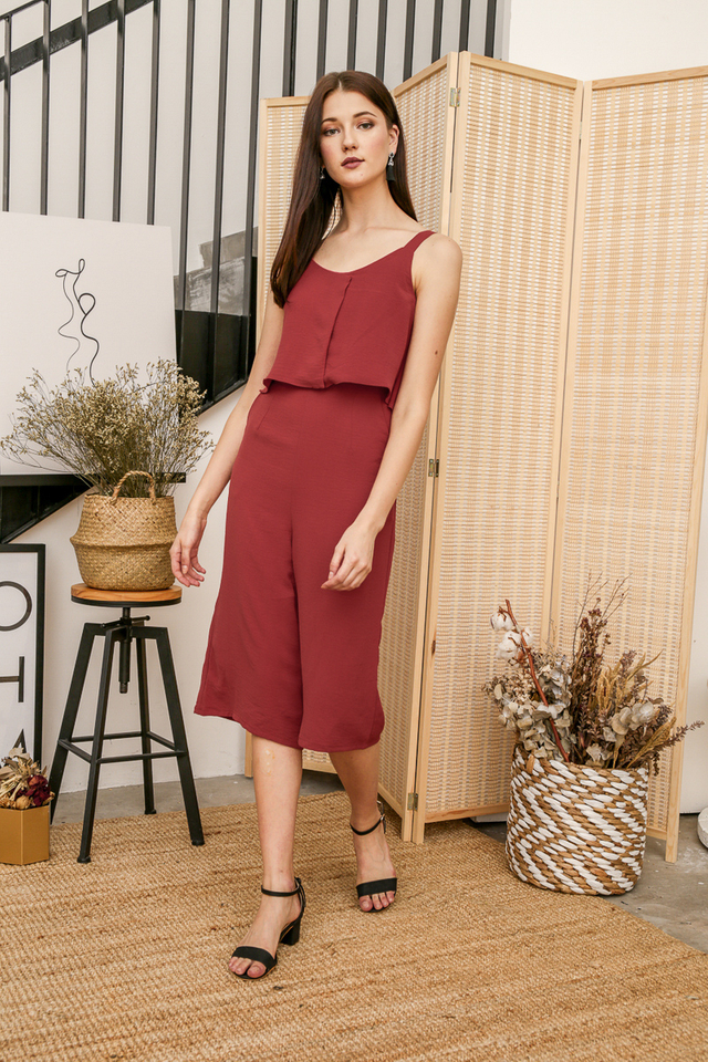 Rei Layer Midi Jumpsuit in Terracotta