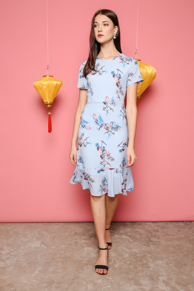 Valerie Printed Midi Dress in Powder Blue