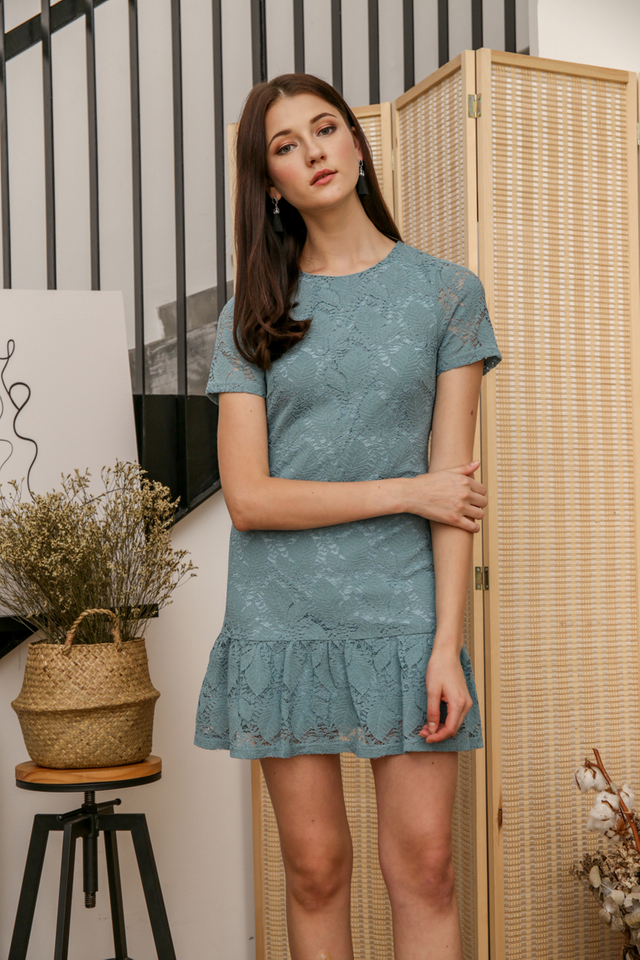 Spring Lace Drop Waist Dress in Seafoam (S)