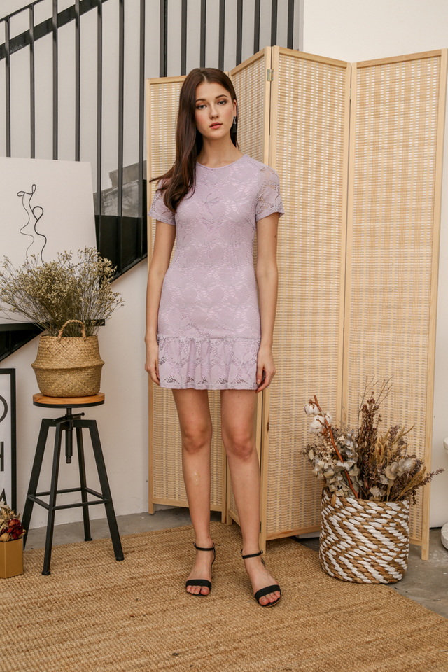 Spring Lace Drop Waist Dress in Lilac