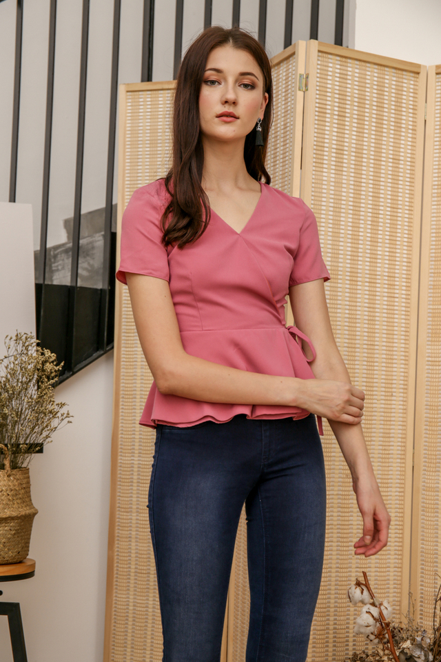 Rena Faux Wrap Top in Pink