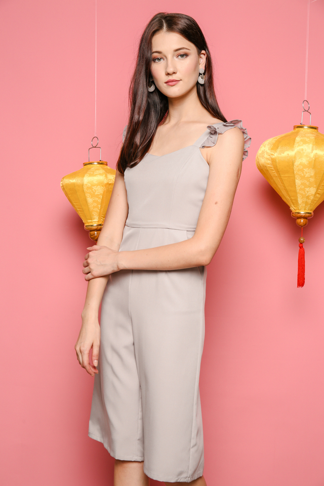Evan Ruffles Midi Jumpsuit in Grey