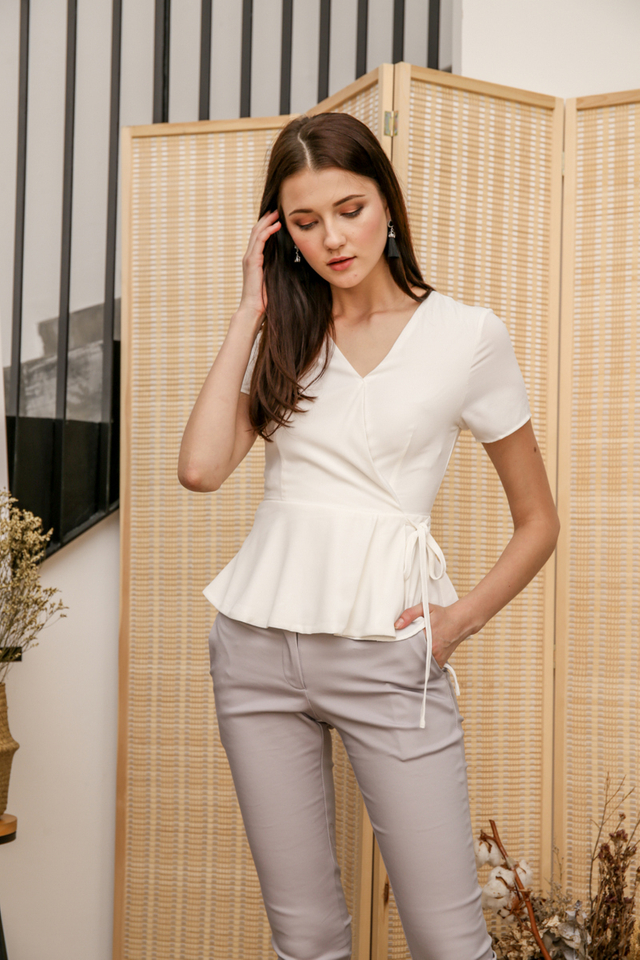 Rena Faux Wrap Top in White