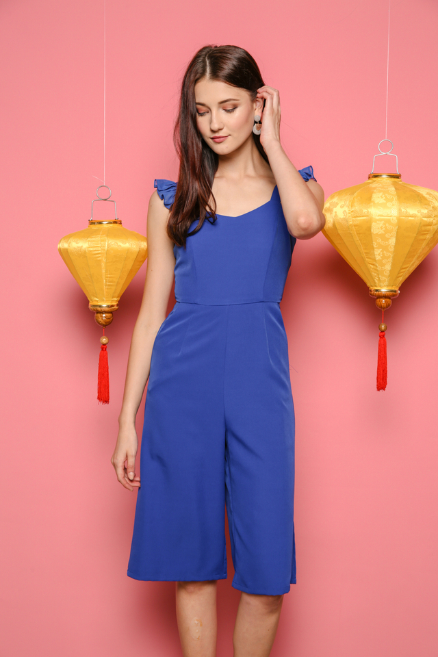 Evan Ruffles Midi Jumpsuit in Cobalt Blue