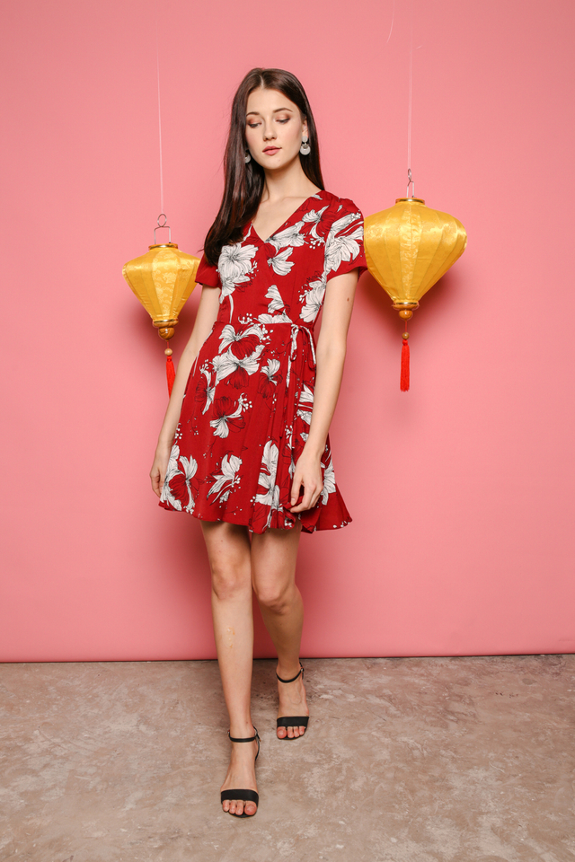 Sheila Floral Dress in Red