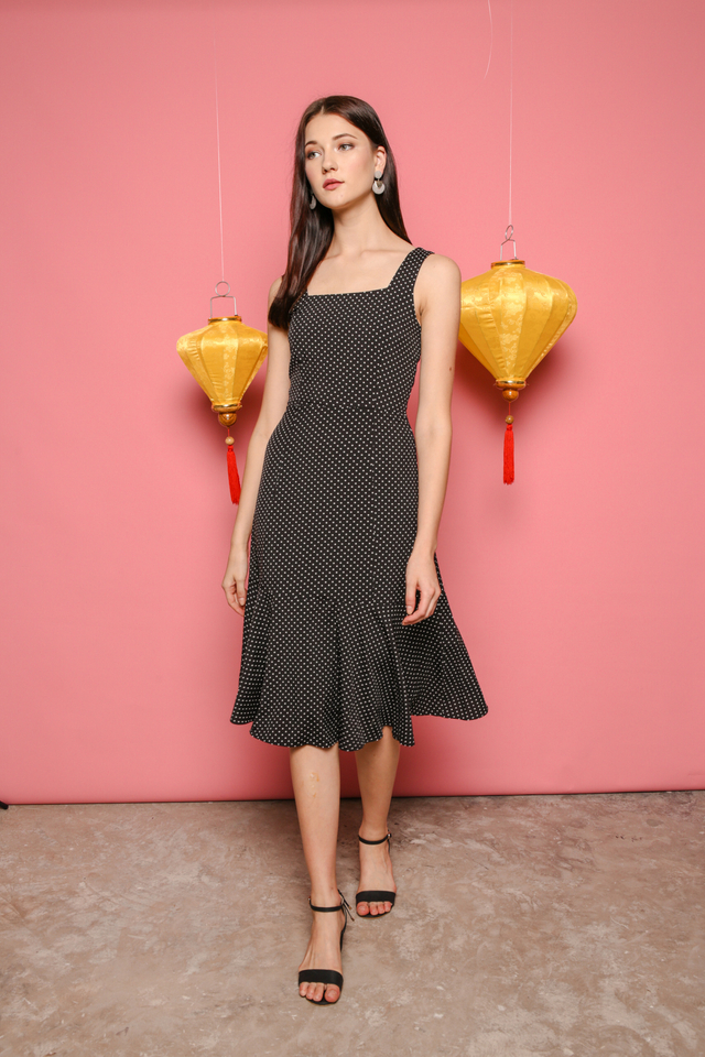 Fiona Polka Dot Midi Dress in Black (S)