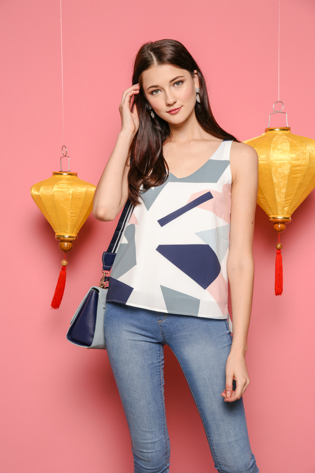 Jolene Geometric Top in White