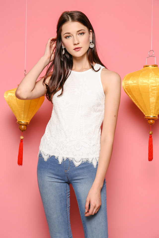 Sabina Lace Top in White (XL)