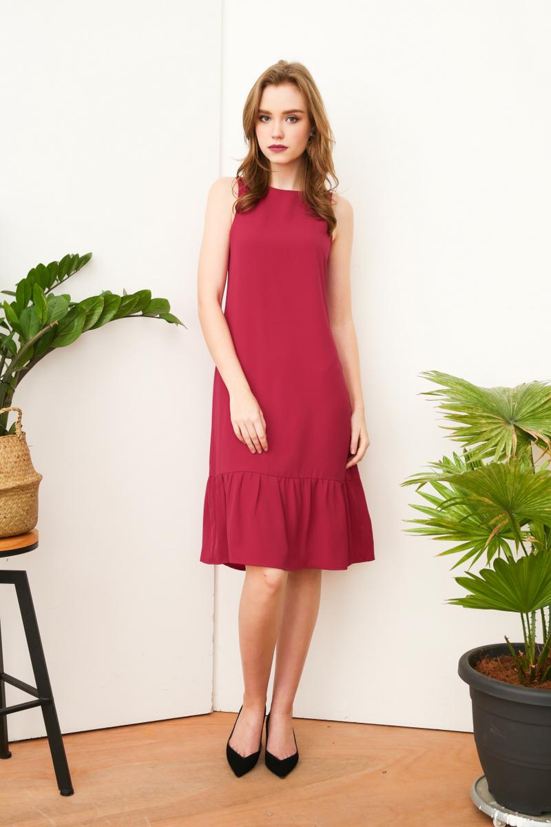 f92efe4ab5 Priscilla Dropwaist Midi Dress in Magenta
