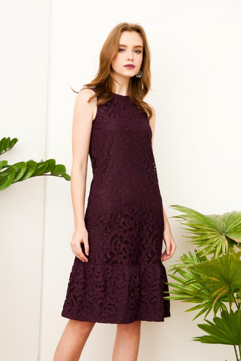 26c43751cc60 Lucille Lace Midi Dress in Deep Purple