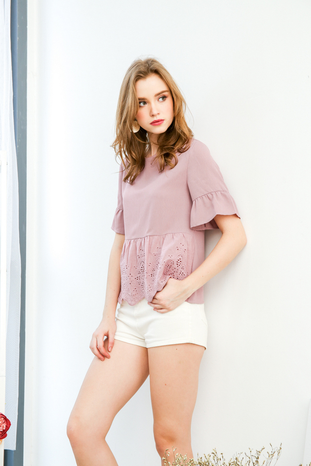 Whimsical Eyelet Top in Mauve