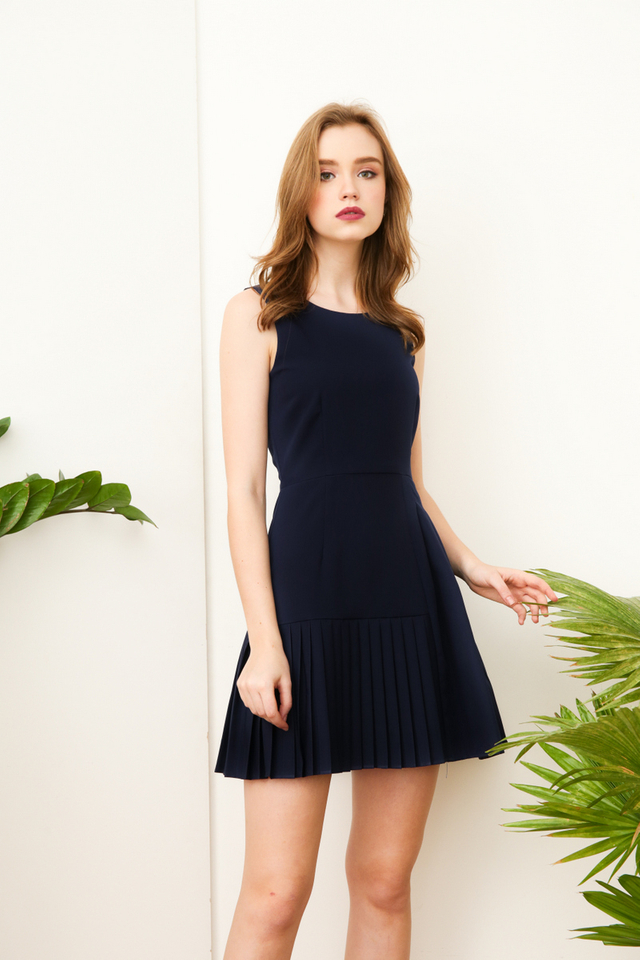 Tallulah Multi-Pleated Work Dress in Navy