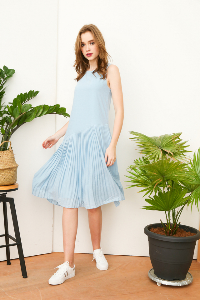 Lavern Asymmetrical Pleated Midi Dress in Powder Blue