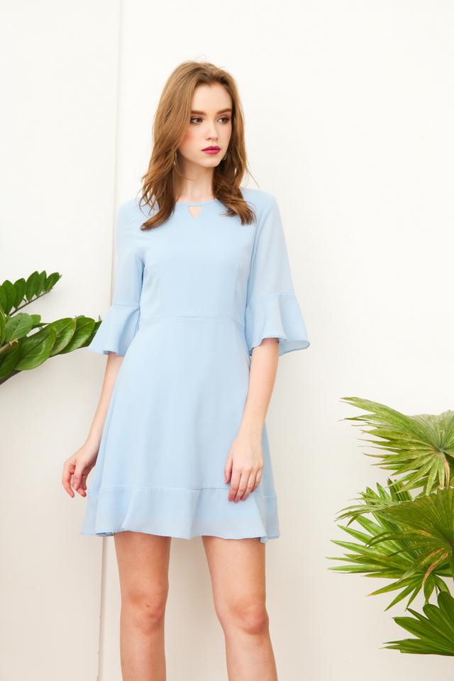 Vernissa Keyhole Bell Sleeve Dress in Powder Blue