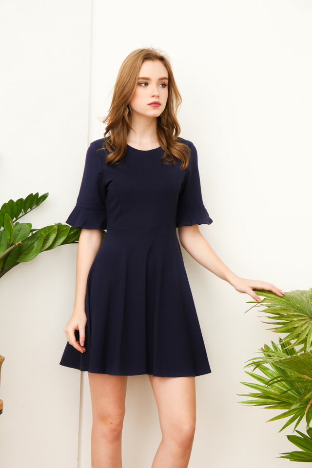 Noella Ruffle Sleeve Work Dress in Navy