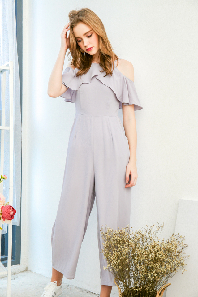 Sylvie Ruffled Cold Shoulder Jumpsuit in Grey