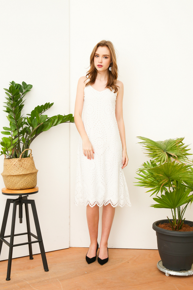 Nova Eyelet Midi Dress in White