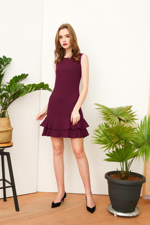 Beatrice Double Tiered Hem Dress in Purple (XS)