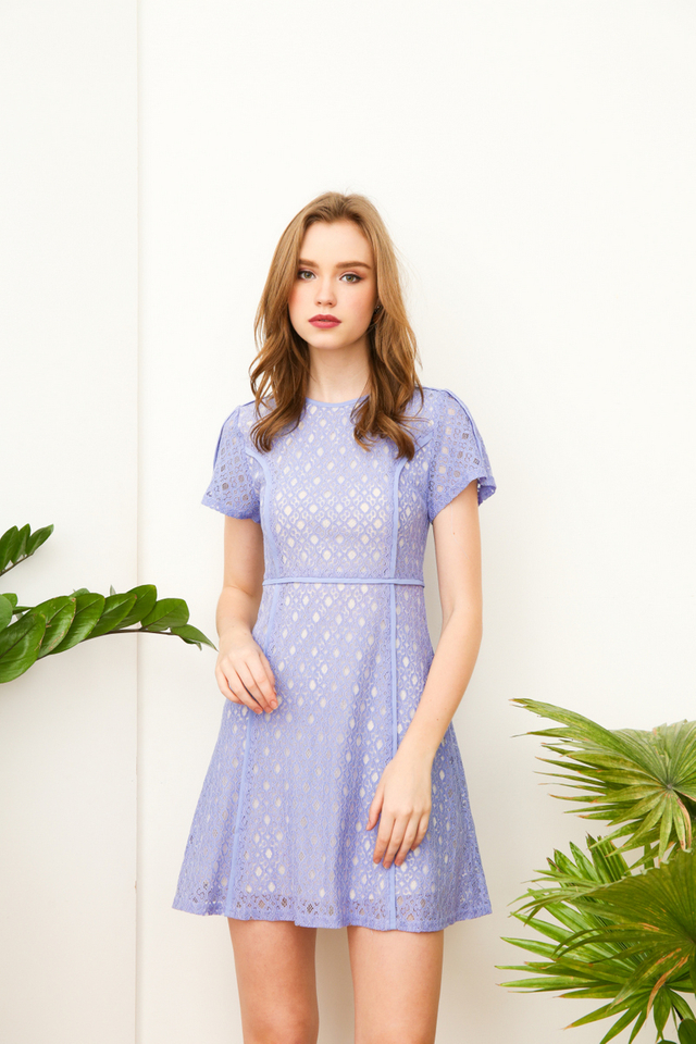 Ana Lace Work Dress in Periwinkle