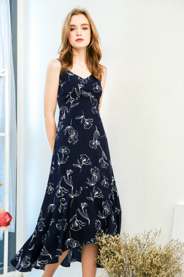 Abigail Asymmetrical Floral Slip Dress in Navy