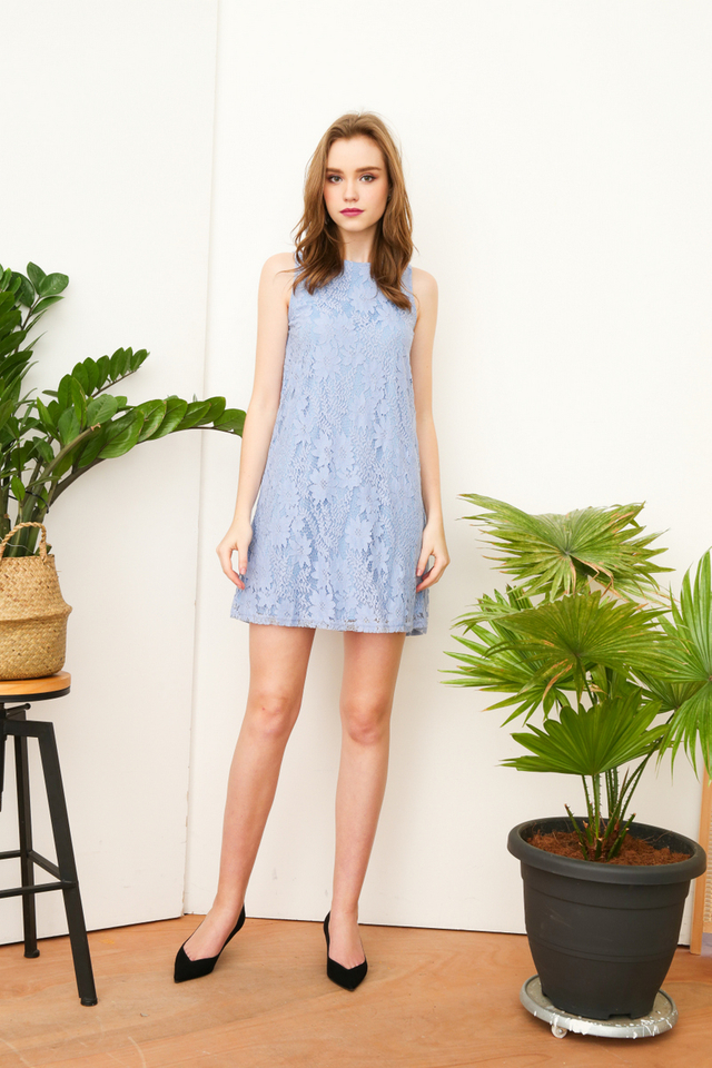 Clary Lace Trapeze Dress in Periwinkle (L)