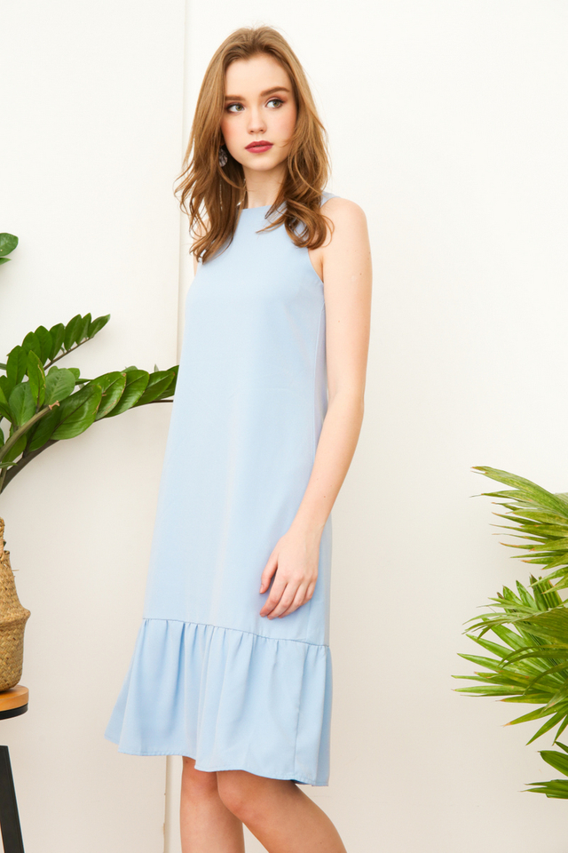 Priscilla Dropwaist Midi Dress in Powder Blue