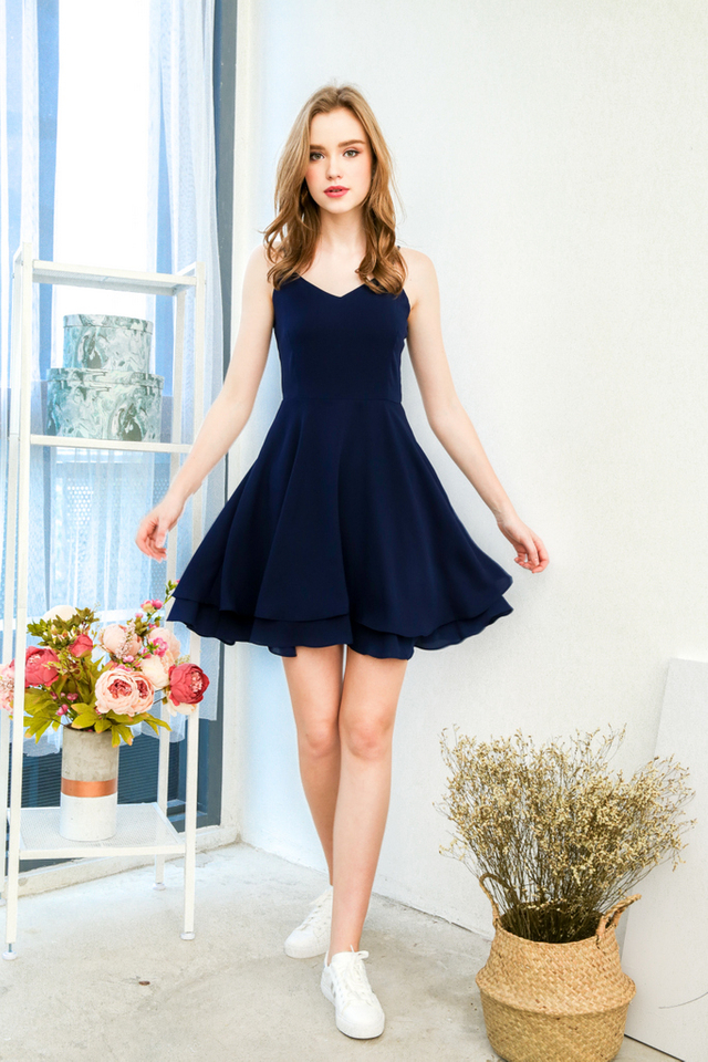 Tris Basic Skater Dress in Navy