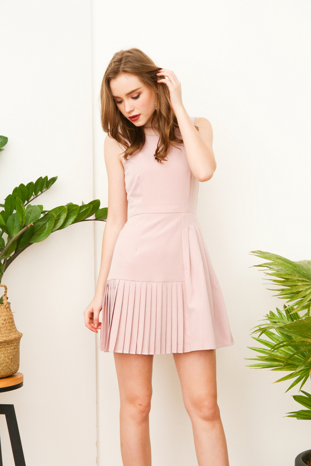 Tallulah Multi-Pleated Work Dress in Dusty Pink