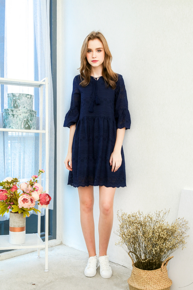 Michy Tassel Eyelet Dress in Navy