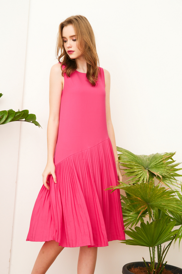 Lavern Asymmetrical Pleated Midi Dress in Hot Pink